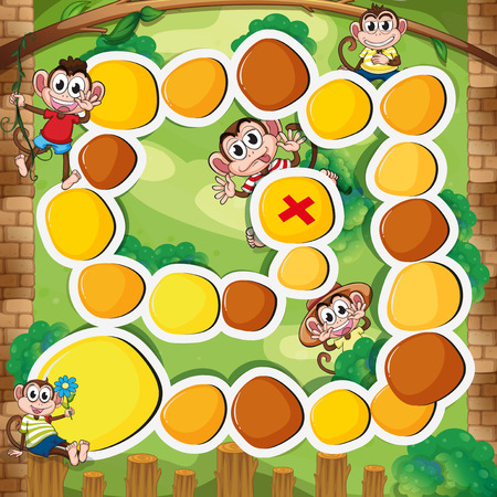 Boardgame template with monkey in the woods illustration Illustration