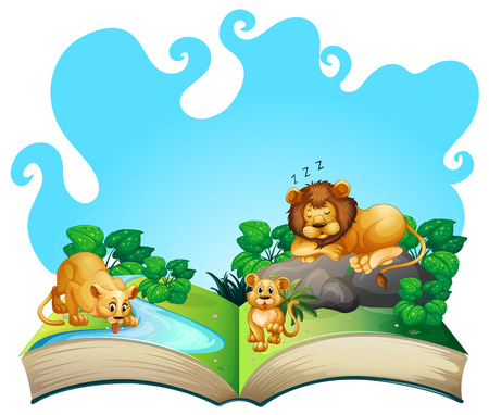 wild living: Lion family by the river  illustration