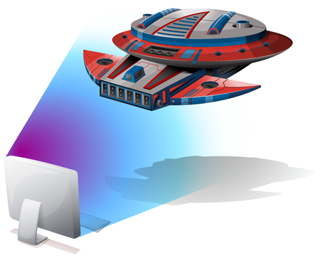 unidentified: Spaceship flying out of computer screen illustration Illustration
