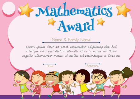 happy children: Certificate of mathematics award illustration