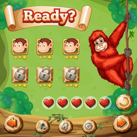 animales safari: plantilla de juego con el mono de ilustración de fondo