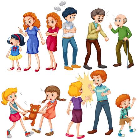 violencia intrafamiliar: El hombre y la mujer de la expresión de diferentes estados de ánimo ilustración