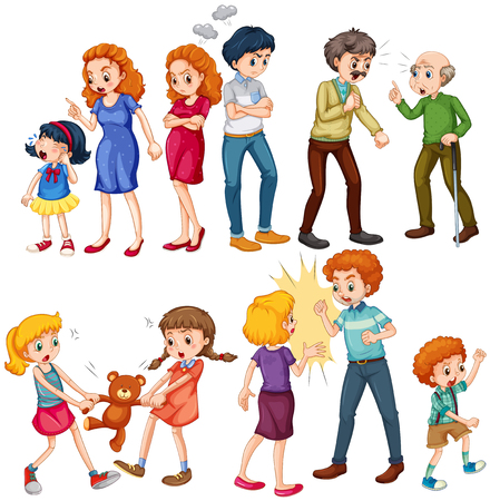 Group Of People Fighting Clipart