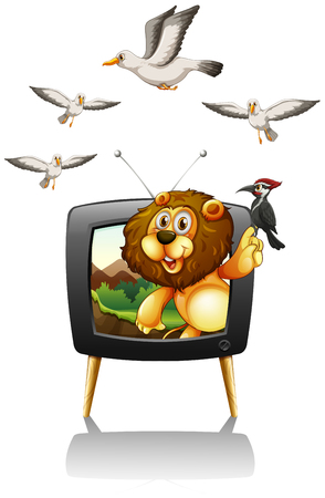 tv screen: Lion and birds on television screen illustration