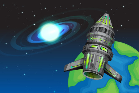 rocketship: Rocketship flying in the space illustration