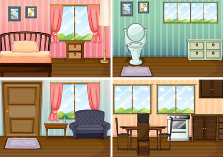 Cuatro escenas de habitaciones en la ilustración de la casa