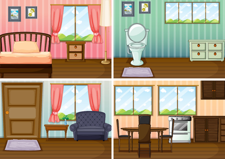 bedroom bed: Four scenes of rooms in the house illustration