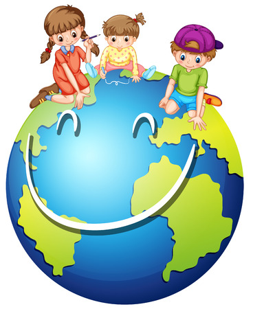 earth planet: Children and happy world illustration
