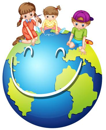 planeta tierra feliz: Los niños y feliz ilustración del mundo