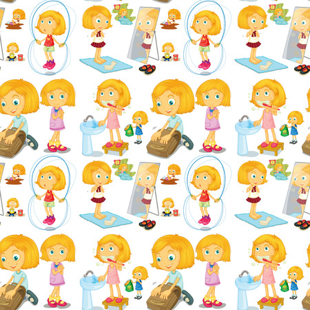 blond: Blond girl doing different activities illustration