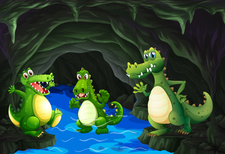 water stream: Three crocodile living in the cave illustration Illustration