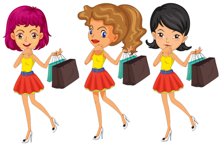 lady shopping: Three women with shopping bags illustration