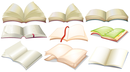 diary: Different design of books and notebooks illustration