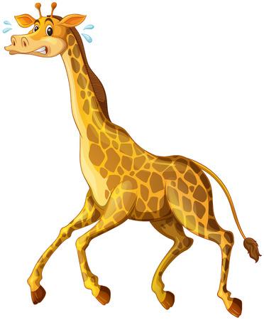 Giraffe running away from something illustration