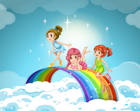 Fairies flying over the rainbow illustration