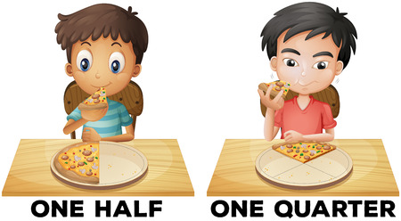 fastfood: Fractions one half and one quarter illustration Hình minh hoạ