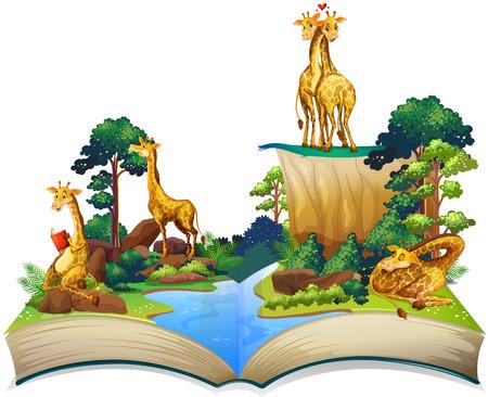 selva caricatura: Libro de jirafas viven en la ilustración río Vectores