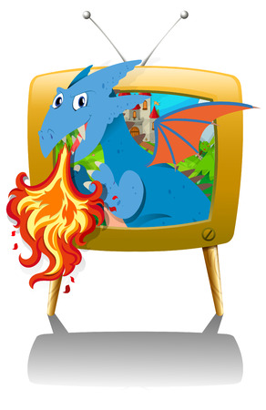 fantacy: Dragon blowing fire on TV illustration Illustration