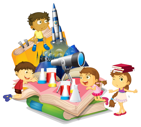 Science book with children and equipment illustration