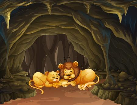 Dos leones que duermen en la ilustración de la cueva