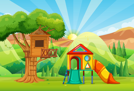 Treehouse and slides in the park illustration