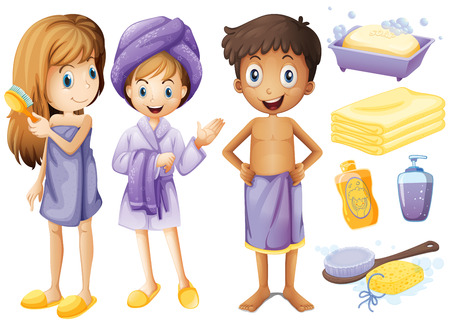 little girl bath: Children and bathroom objects illustration
