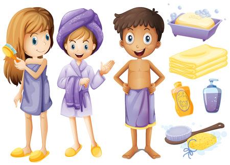 I bambini e gli oggetti da bagno illustrazione Vettoriali