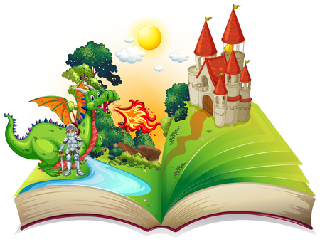 Book of knight and dragon illustration Фото со стока - 51244718