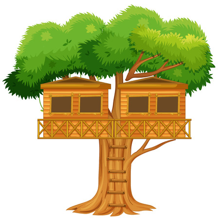 bungalow: Two treehouses in the tree illustration