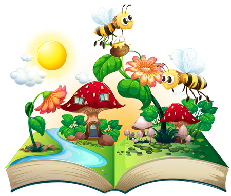 exotic flowers: Bees flying over the flowers illustration