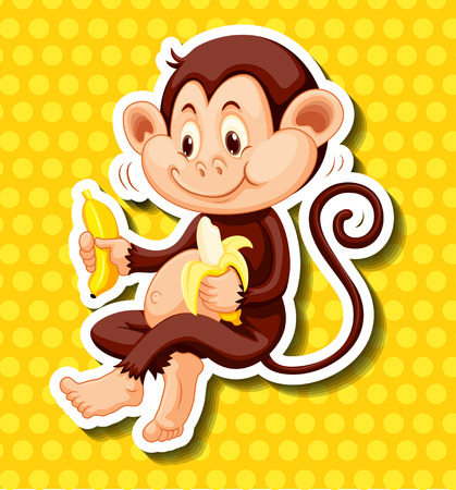 cute monkey: Cute monkey eating banana illustration Illustration