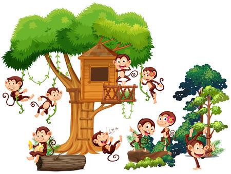 climbing up: Monkeys playing and climbing up the treehouse illustration Illustration