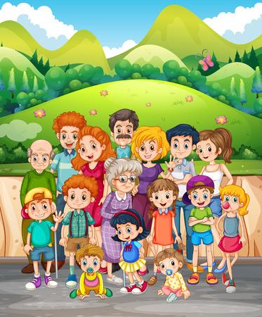 family members: Family members in the park illustration