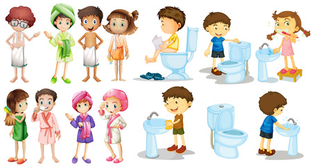 routine: Boys and girls in bathrobe illustration Illustration