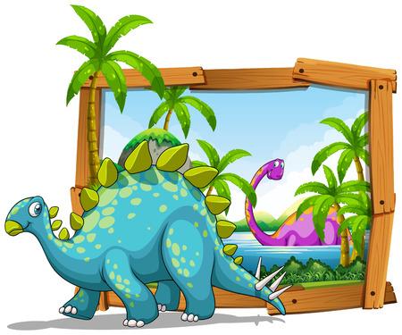 wooden frame: Two dinosaurs in wooden frame illustration Illustration