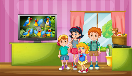 child girl: Children watching tv in the room illustration Illustration