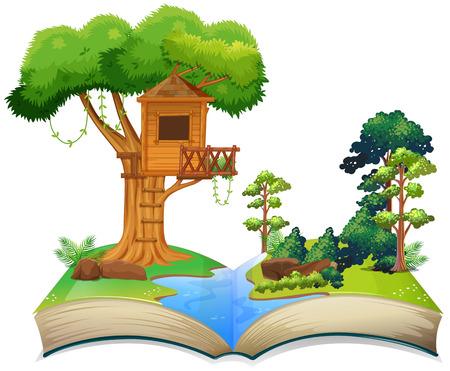 本のイラストを川で樹上の家
