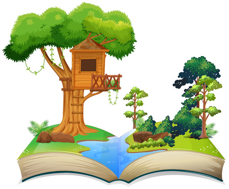 Treehouse by the river on a book illustration Illustration