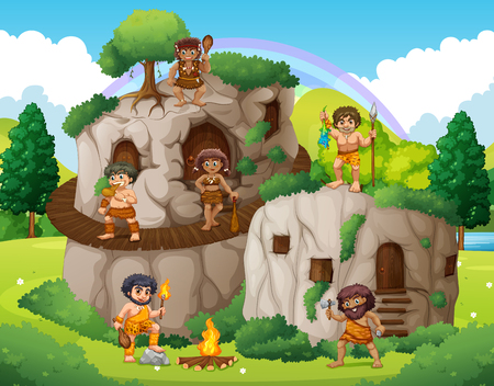 man in field: Cave people living in the stone house illustration