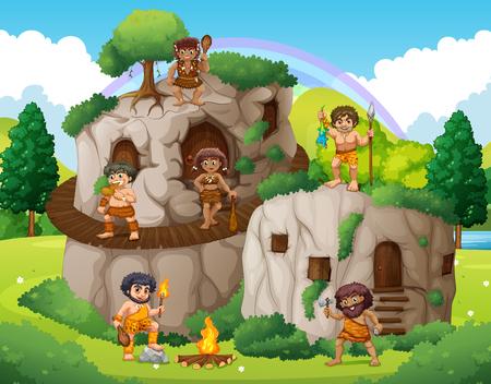hombre prehistorico: cueva personas que viven en la ilustración de la casa de piedra