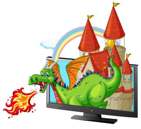 fantacy: Castle and dragon on the screen illustration