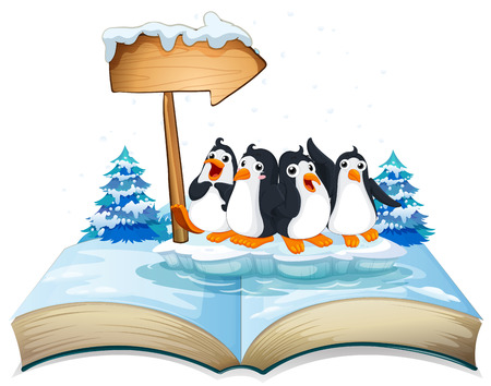 out: Four penguins standing on ice illustration