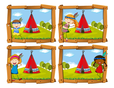 indian student: Children in indian costume by teepee illustration Illustration