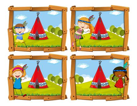 teepee: Children in indian costume by teepee illustration Illustration