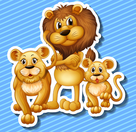 Lion family with little cub illustration Illustration