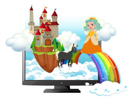 nubes caricatura: La pantalla del ordenador con la princesa y el castillo de la ilustración