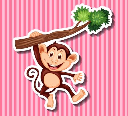 monkeys: Monkey hanging on branch illustration