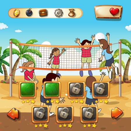 clip arts: Game template with beach volleyball background illustration