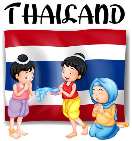 cartoon child: Thai festivals and flag illustration