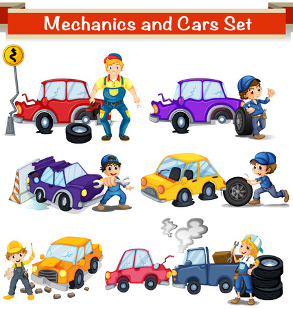 Mechanics and cars set illustration